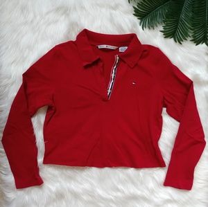 Tommy Hilfiger Red Cropped Polo Long-Sleeve Tee L